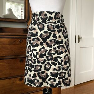 LOFT Leopard Print Pencil Skirt, Size 8P
